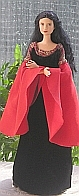 Arwen blood red dress ooak for Barbie doll