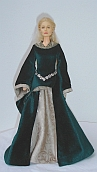 Eowyn green gown ooak for Barbie doll